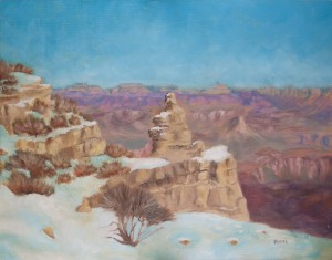 Early Snow on the Southern Rim. Landscape painting by Kesavan Potti.