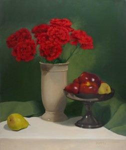 Red Carnations. Still life painting by Kesavan Potti.