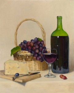 Wine and Cheese. Still life painting by Kesavan Potti.